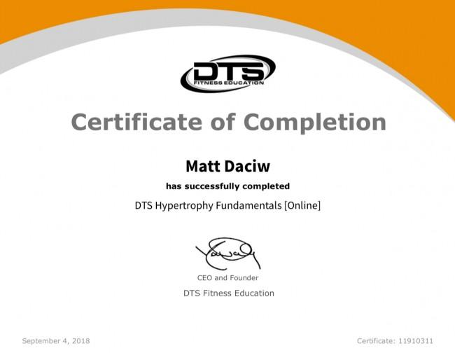 DTS Hypertrophy Fundamentals Certification
